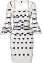 Herve Leger Stretch Jacquard-knit Dress - White