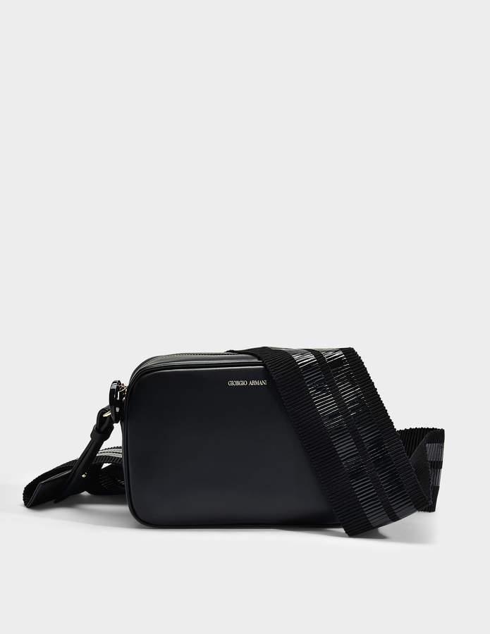 Giorgio Armani Camera Bag in Black Calfskin
