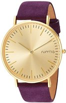 RumbaTime Women's 'SoHo Suede Plum' Quartz Metal and Suede Casual Watch, Color:Purple (Model: 26092)