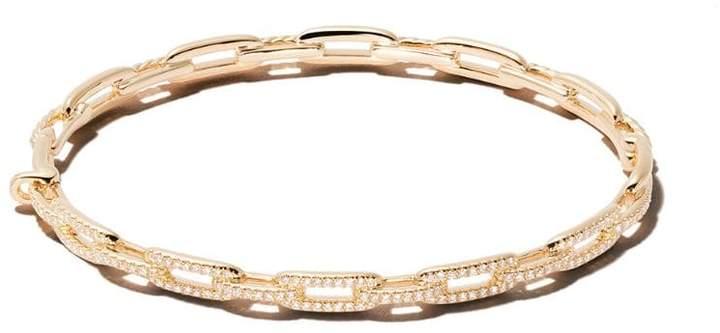 David Yurman 18kt yellow gold Stax diamond chain link bracelet