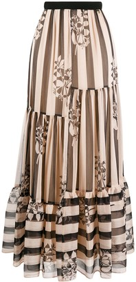Twin-Set Striped Full Skirt