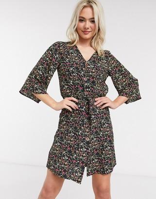 JDY black floral mini dress