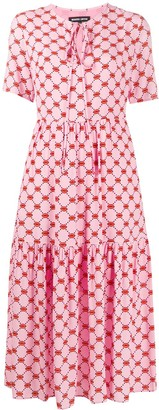 Markus Lupfer Carter lip print tiered style dress