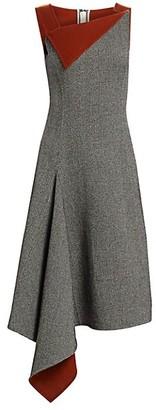 Oscar de la Renta Asymmetric Knit Wool & Cashmere Dress