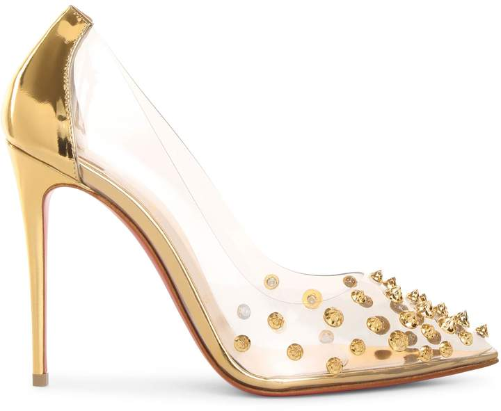 0826092460c Collaclou 100 pvc gold studs pumps