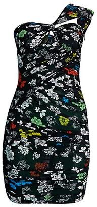 Versace One-Shoulder Floral Mini Dress