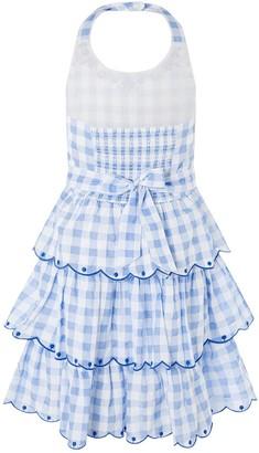 Monsoon Girls Gingham Halter Embroidered Dress - Blue