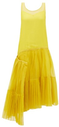 Rochas Asymmetric Pleated Silk-organza Dress - Womens - Yellow