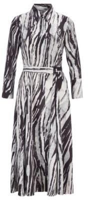 HUGO BOSS Belted Midi Shirt Dress In Zebra Print Italian Twill - Patterned