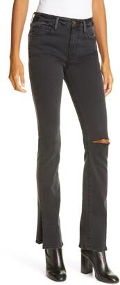 Frame Le Mini Boot Slit Hem Ripped Jeans