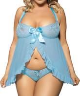 Lookswe Women Sexy Nightwear Halter Lace Strap Chemise Babydoll Lingerie Set (5XL)