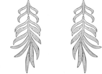 Feathered Leaf Statement Drop Earring Silver