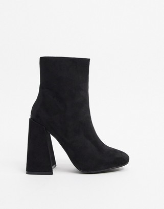 New Look flare heeled boots in black suedette