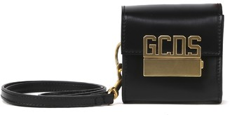 GCDS Black Leather Mini Cube Bag