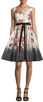 Marc Jacobs Sleeveless Floral-Print Fit & Flare Dress, Cream