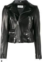 Saint Laurent glitter logo biker jacket