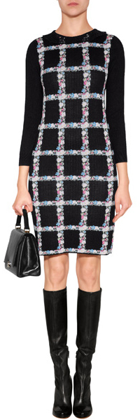 RED Valentino Wool-Silk Intarsia Knit Lace Collar Dress