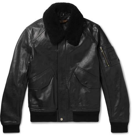 Belstaff Arne Shearling-Trimmed Leather Bomber Jacket