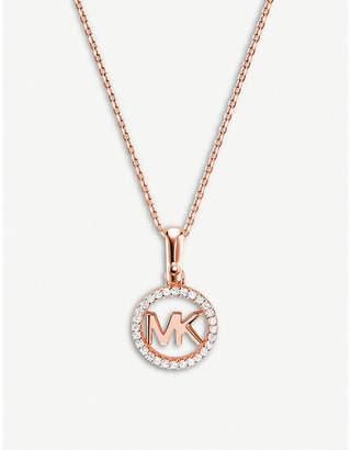 Michael Kors Custom Kors monogram rose gold-plated pave-embellished necklace
