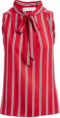 Jon & Anna jon & anna Women's Blouses Red - Red Stripe Tie-Neck Sleeveless Blouse - Women & Plus