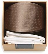 The Tie Bar Men's Dot Silk Bow Tie & Cotton Pocket Square Style Box