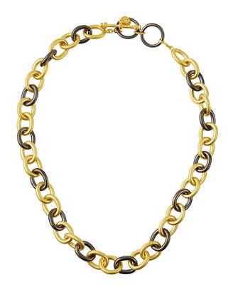 Freida Rothman Heavy Alternating Pave Link Chain Necklace