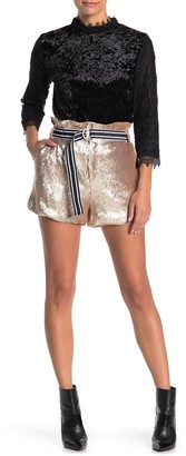 Moon River Belted Sequin Shorts
