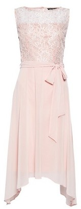 Dorothy Perkins Womens Billie & Blossom Blush Lace Hanky Hem Skater Dress