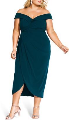 City Chic Rippled Love Off the Shoulder Sheath Dress