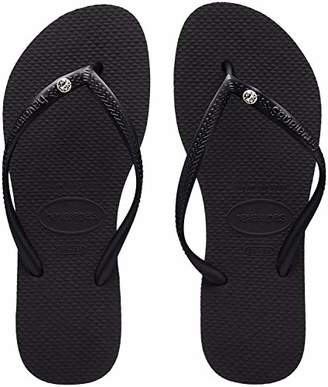 Havaianas Slim Crystal Glamour Sw, Women's Flip Flops Flip Flops, Black(Black), (41/42 EU EU)