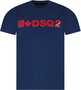 DSQUARED2 Blue T-shirt For Boy With Red Logo And Maple Leaf