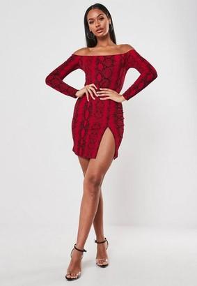 Missguided Red Snake Print Long Sleeve Bardot Mini Dress