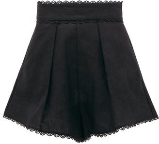 Zimmermann Kirra Scalloped-hem Linen Shorts - Black