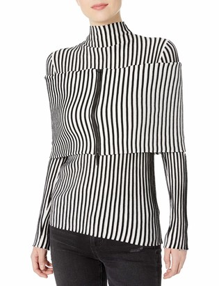 Kenneth Cole Women's Cold Elbow Stripe Sweater with Zip Shrug