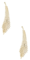 Mizuki 14K Gold Curved Feather Earrings
