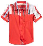 Sean John French Terry Plaid Short Sleeve Shirt, Big Boys (8-20)