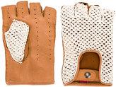Al Duca D'Aosta 1902 - woven panel fingerless gloves - men - Leather/Cotton - 8.5