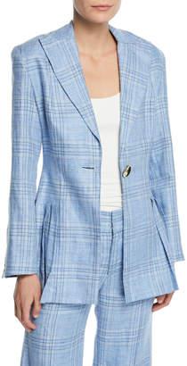 Maggie Marilyn Suit Yourself Linen Check Peplum Blazer