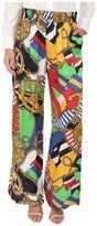 Love Moschino Sailor Print Silk Gaucho Pants