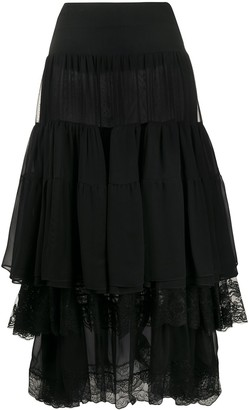 Ermanno Scervino Lace Trimmed Pleated Skirt