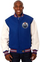 JH Design Edmonton Oilers Men's Wool & Leather Jacket with Hand Crafted Leather Team Logos