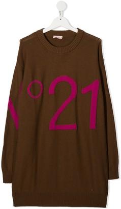 No21 Kids TEEN logo knitted dress