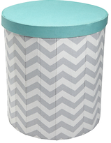 John Lewis Chevron Print Storage Bin, Grey/Teal