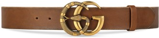Gucci Leather belt with Double G buckle with snake