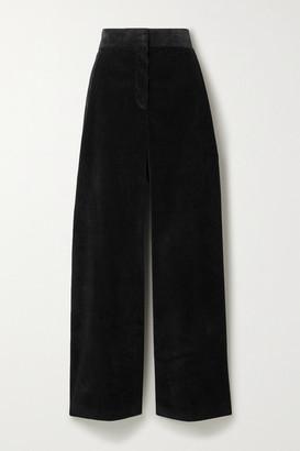 The Row Caylan Cotton-corduroy Wide-leg Pants - Black