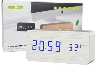 Overstock Baldr Digital Wooden Alarm Clock White CL0929WB1
