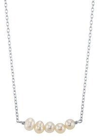 "Unwritten Bridesmaid Collection Multi-Freshwater Pearl Station Necklace in Sterling Silver, Rose Gold or Yellow Gold, 16"" + 2"" Chain, 5mm Pearls"