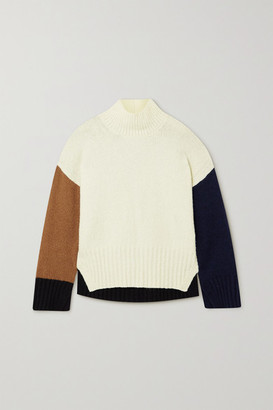 Frame Color-block Wool-blend Turtleneck Sweater - Cream