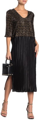 Tov Colorblock Metallic Plisse Pleated Midi Dress