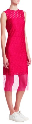 Akris Punto Sleeveless Embroidery Lip Sheath Dress